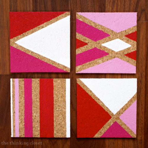Painted Cork Coasters at The Thinking Closet
