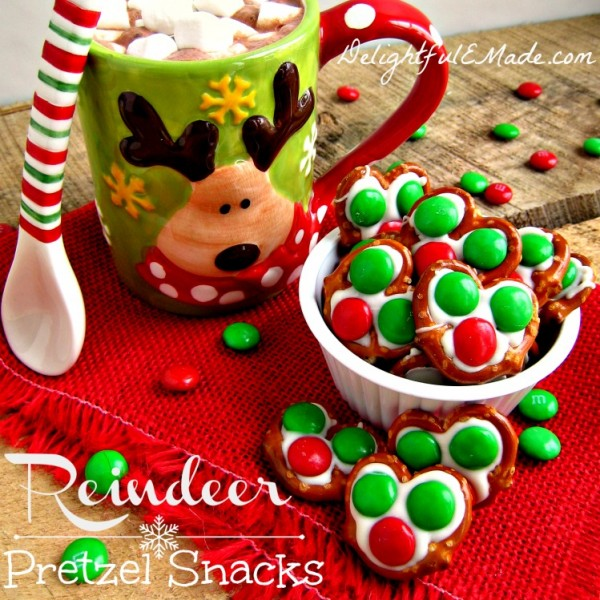 Reindeer Pretzel Snacks at DelightfulEMade