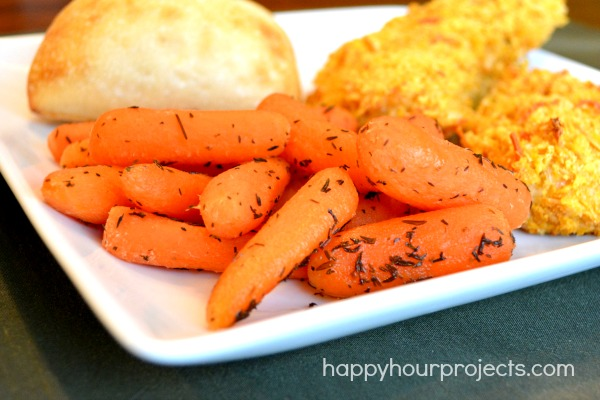 Easy Side Dish Recipe: Honey Glazed Carrots at www.happyhourprojects.com