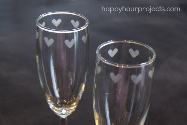 Easy Etched Heart Champagne Flutes from the Dollar Store at happyhourprojects.com