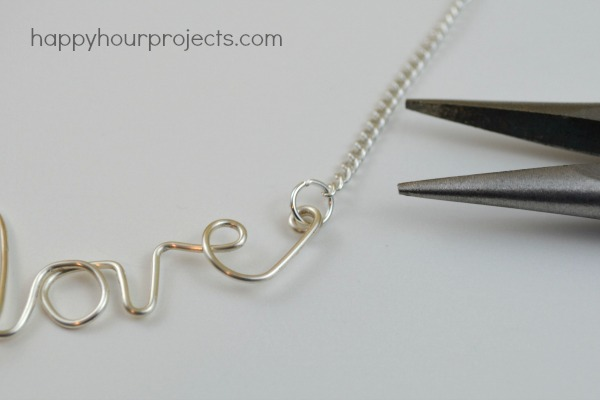 "Easy Wire ""Love"" Necklace at www.happyhourprojects.com"