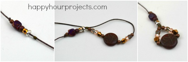 Beaded Linen Twine Bookmark at www.happyhourprojects.com