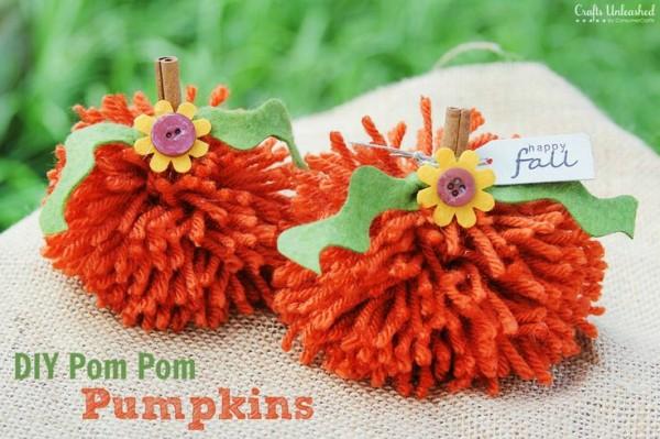 Pom Pom Pumpkins at Crafts Unleashed