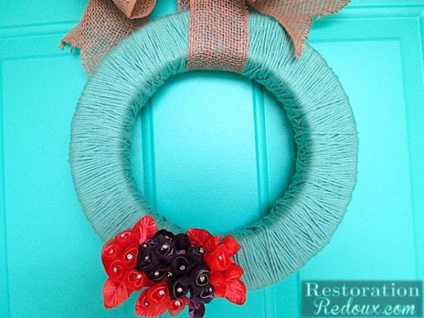 Yarn Wrapped Wreath at Restoration Redoux