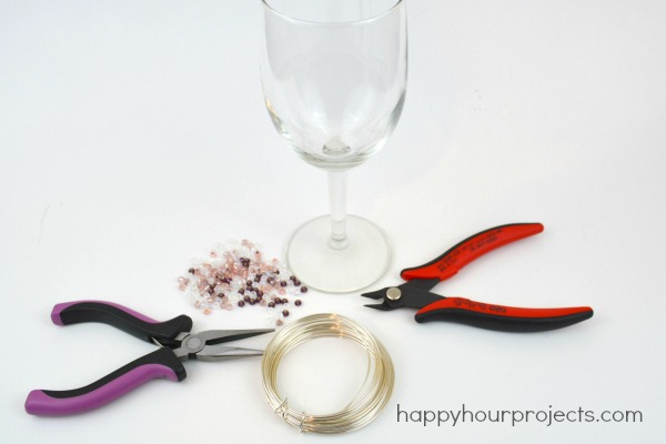 Beaded Dollar Store Wine Glasses at www.happyhourprojects.com