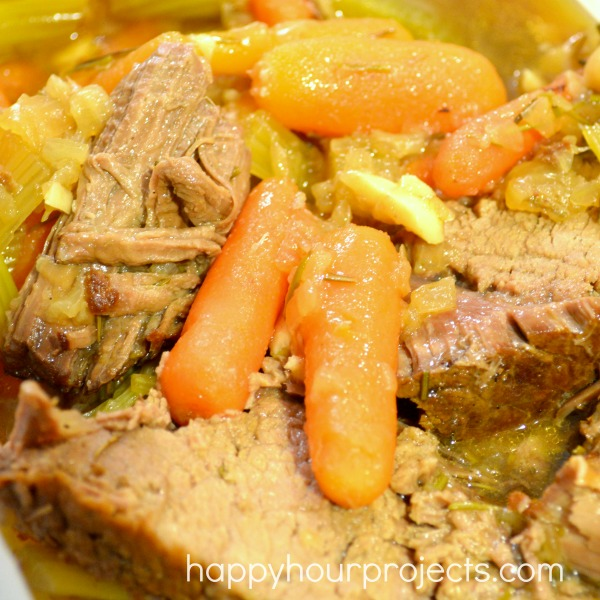 Garlic and Rosemary Crock Pot Beef Roast at www.happyhourprojects.com