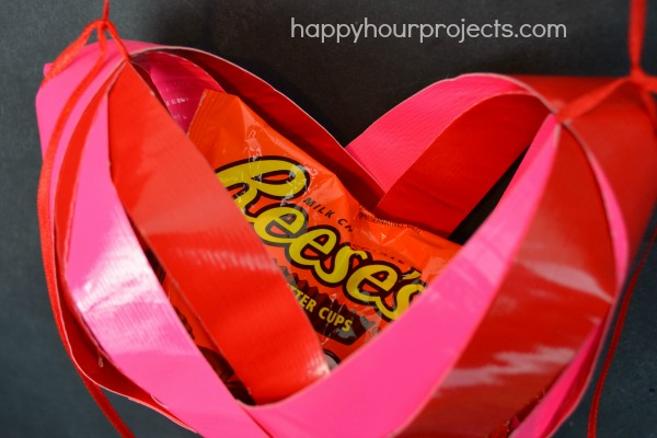 Duck Tape Heart Shaped Basket at www.happyhourprojects.com