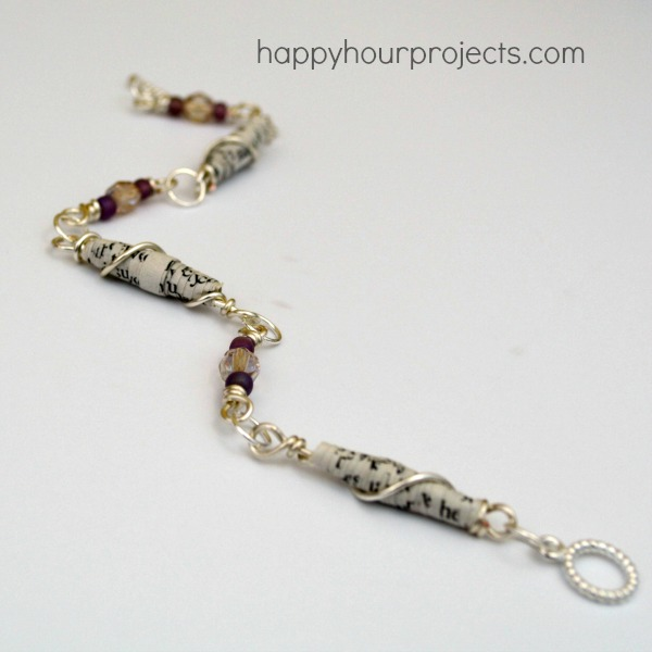 Wire Wrapped Paper Bead Bracelet
