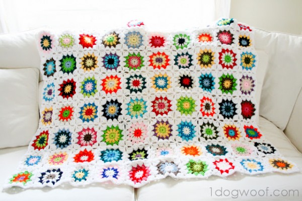Colorful Crochet Granny Square Quilt at One Dog Woof