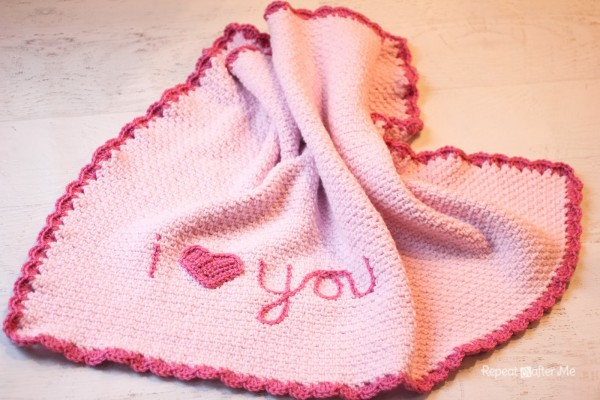I Love You Crochet Baby Blanket at Repeat Crafter Me