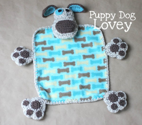 Crochet Puppy Dog Lovey Blanket at Repeat Crafter Me