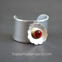 Riveted Flower Ring at www.happyhourprojects.com