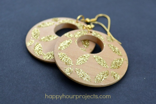 Stenciled Glitter Earrings at www.happyhourprojects.com