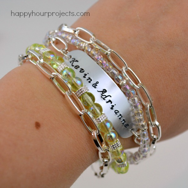 Handmade Wedding Gifts: Stamped and Beaded Mixed Media Bracelet at www.happyhourprojects.comHandmade Wedding Gifts: Stamped and Beaded Mixed Media Bracelet at www.happyhourprojects.com