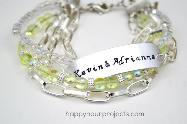 Handmade Wedding Gifts: Stamped and Beaded Mixed Media Bracelet at www.happyhourprojects.com