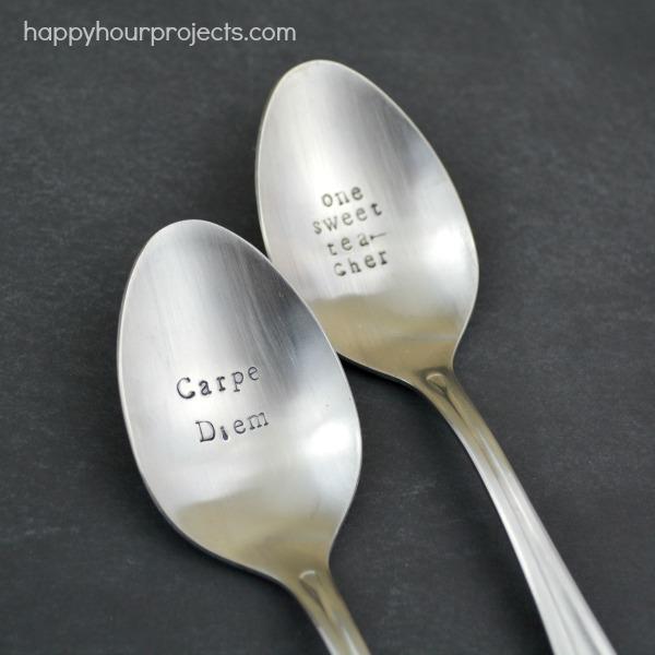 Stamped Spoon Teacher Appreciation Tea Set at www.happyhourprojects.com #CraftLightning