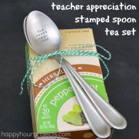 Stamped Spoon Teacher Appreciation Tea Set at www.happyhourprojects.com #CraftLightning