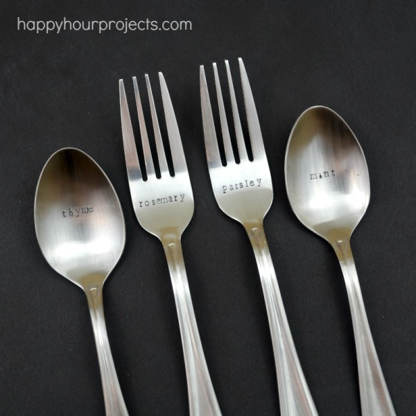 Hand Stamped Spoon and Fork Garden Markers - Video Tutorial at www.happyhourprojects.com