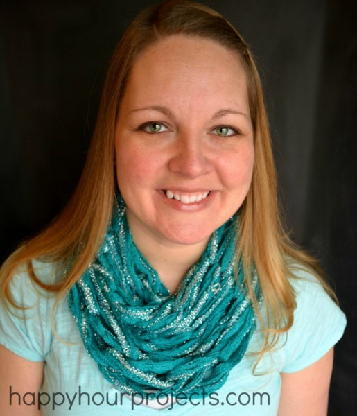 Arm-Knit Spring Infinity Scarf at www. happyhourprojects.com