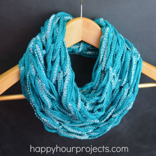 Knitting Scarf Tutorial : Arm knitting spring infinity scarf video tutorial happy