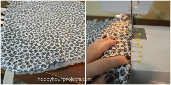Easy Minky Taggie Blanket at www.happyhourprojects.com