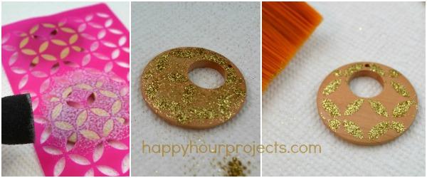 Stenciled Glitter Earrings at www.happyhourprojects.com