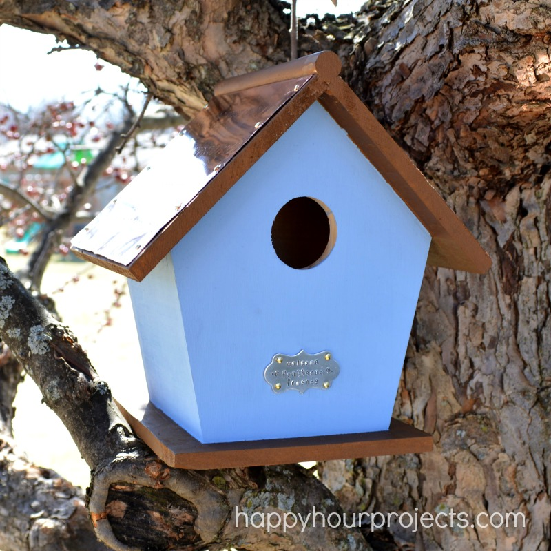 Hand-Stamped Copper Roof Birdhouse