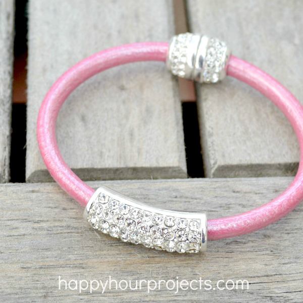 Glue-and-Go Easy Rhinestone and Leather Spring Bracelet at www.happyhourprojects.com