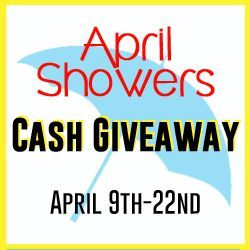 April Showers Cash Giveaway at www.happyhourprojects.com