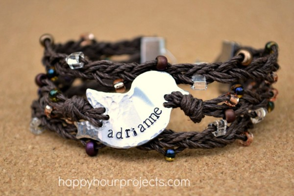 Bird Nest Stamped and Braided Hemp Bracelet at www.happyhourprojects.com