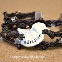 Bird Nest Stamped and Braided Hemp Bracelet