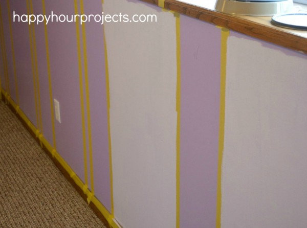 How to Paint Easy Wall Stripes at www.happyhourprojects.com