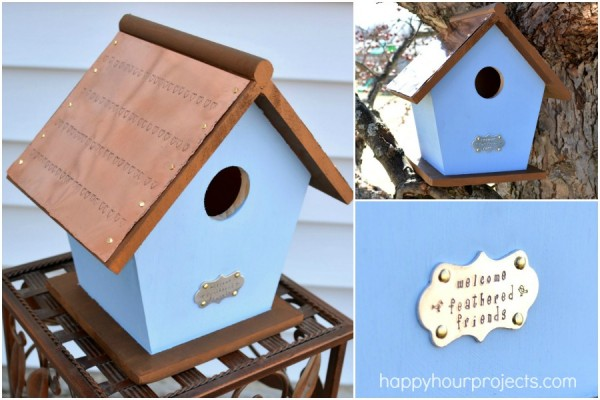 Stamped Copper Roof Birdhouse at www.happyhourprojects.com