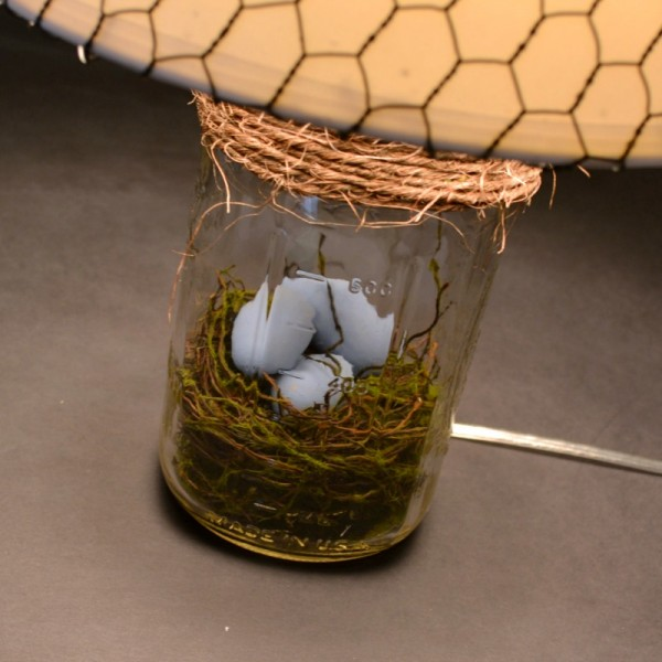 Mason Jar Bird Nest Lamp at www.happyhourprojects.com