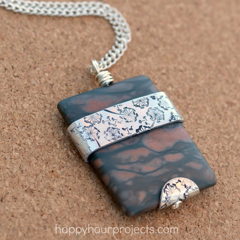Stamped Metal-Wrapped Stone Pendant
