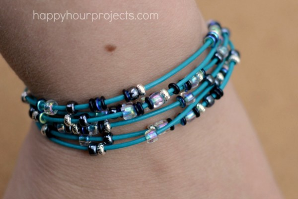 Simple Layered Leather and Bead Bracelet at www.happyhourprojects.com