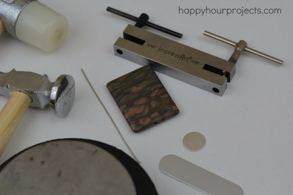 Stamped Metal-Wrapped Stone Pendant at www.happyhourprojects.com