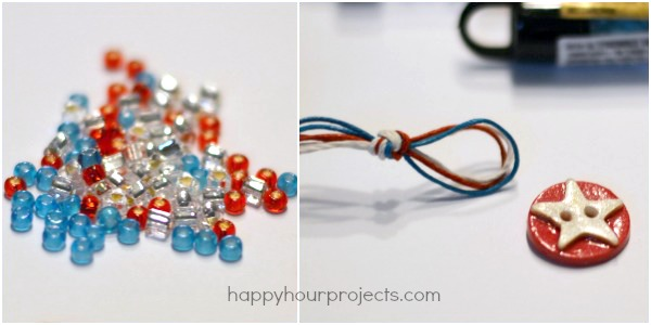 Braided Bead and Hemp Double-Wrap Button Bracelet at www.happyhourprojects.com