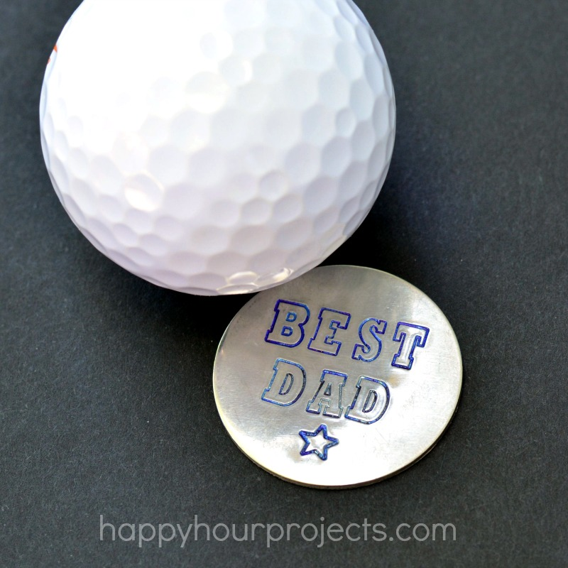 Fathers Day Gift Idea Hand Stamped Golf Ball Marker