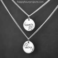 Sparkle & Shine Stamped Double-Pendant Necklace
