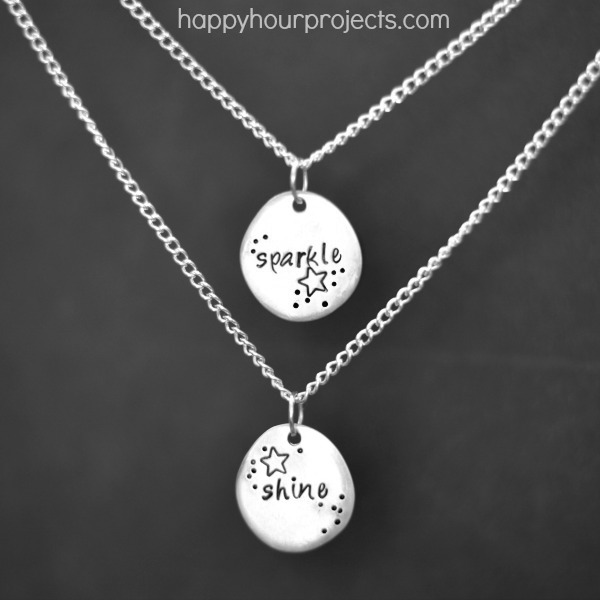 Sparkle shine stamped double pendant necklace happy hour projects sparkle shine stamped double pendant necklace at happyhourprojects mozeypictures