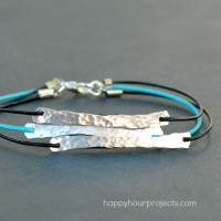 Hammered Wire and Leather Bracelet at www.happyhourprojects.com
