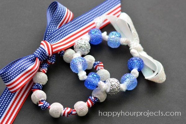 Easy Ribbon & Bead Bracelets at www.happyhourprojects.com