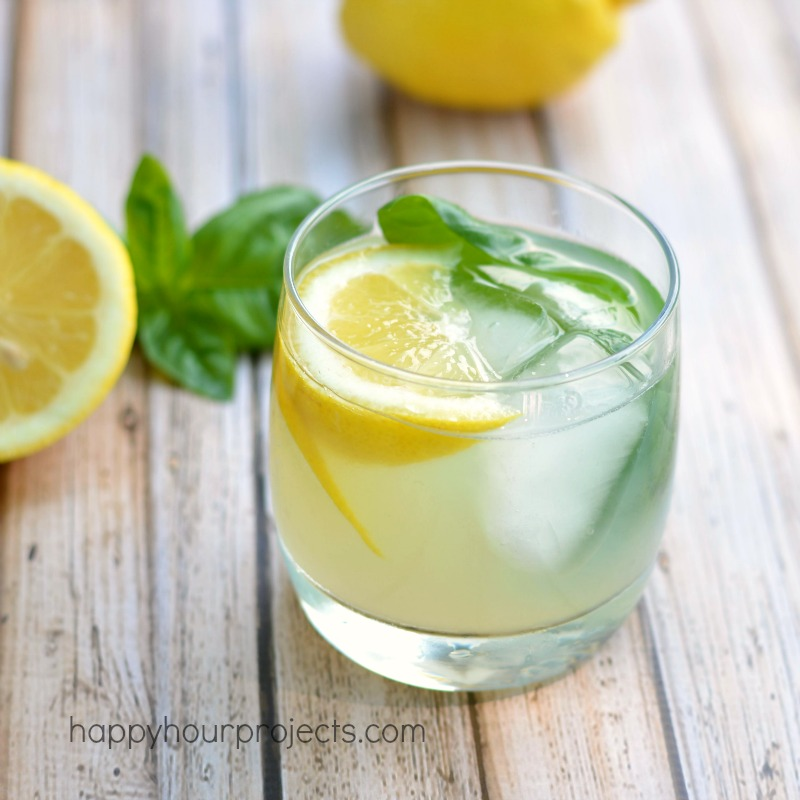 Lemon Basil Gimlet at www.happyhourprojects.com