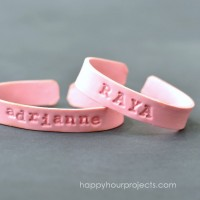Stamped Polymer Clay Cuff Name Bracelets