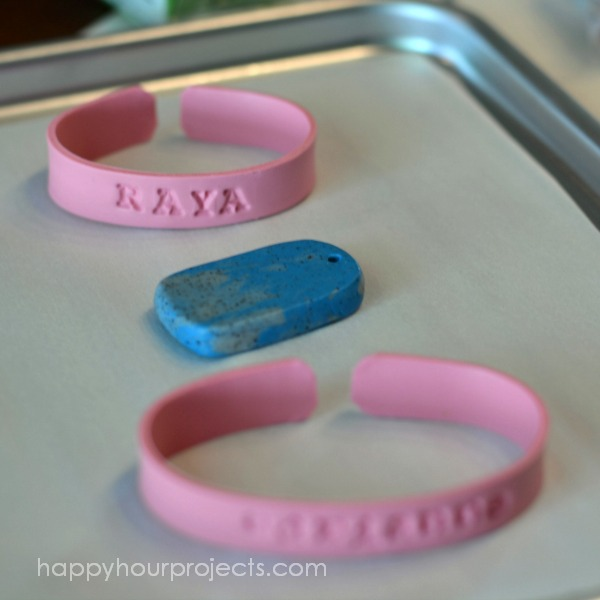 Stamped Polymer Clay Cuff Name Bracelets at www.happyhourprojects.com