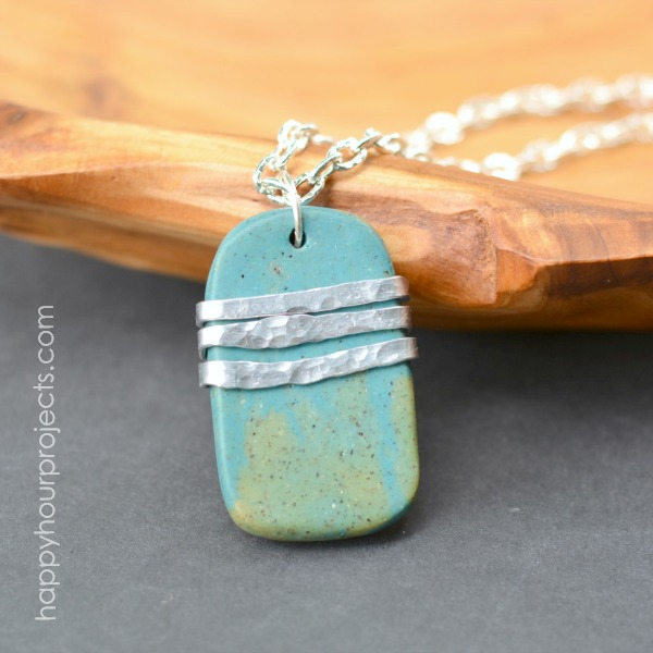 Wire Wrapped Faux Stone Polymer Clay Pendant at www.happyhourprojects.com