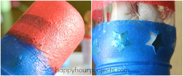 DIY Painted Patriotic Mason Jar Luminary at www.happyhourprojects.com
