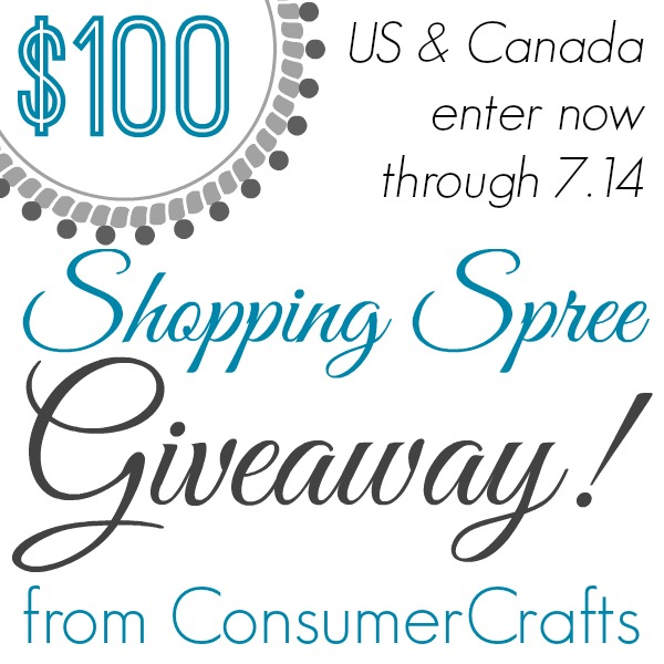 $100 SHopping Spree Giveaway from ConsumerCrafts | ends 7.14.14 at www.happyhourprojects.com