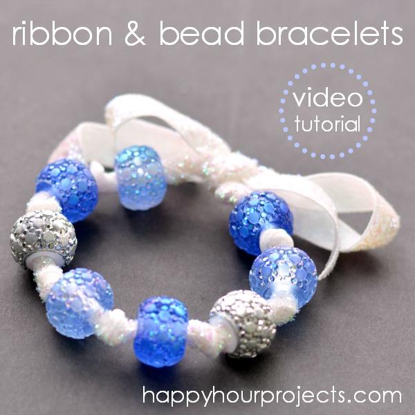 Easy Ribbon & Bead Bracelets at www.happyhourprojects.com